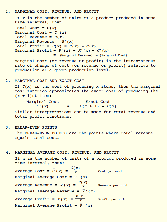calculus marginal cost Marginal cost, marginal revenue, and marginal profit all involve how much a function goes up (or down) as you go over 1 to the right — this is very similar to the.